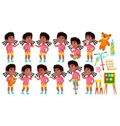Girl kindergarten kid poses set black vector