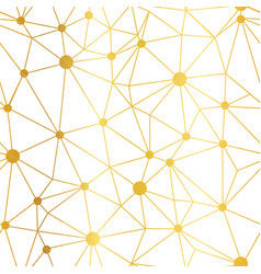 Gold white dots network seamless pattern vector