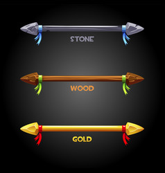 gold wooden stone spears with a ribbon vector image