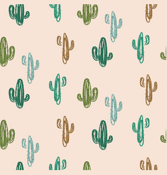 Green cacti modern youthful pattern seamless vector