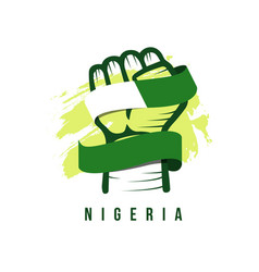 Hand and flag nigeria template design vector