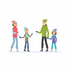 Happy family skating - cartoon people characters vector