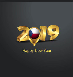 Happy new year 2019 golden typography with czech vector