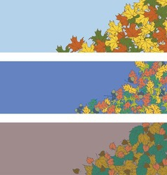 Horizontal banner with autumn leaves vector