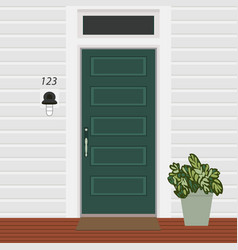 house door front with doorstep and mat lamp vector image
