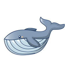 Hungry whale icon cartoon style vector