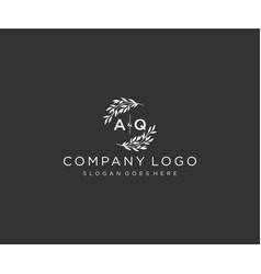 Initial aq letters floral frames monogram wedding vector