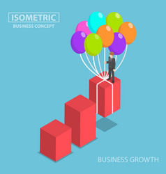 Isometric businessman grow up graph by balloon vector