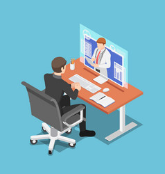 isometric businessman video conference with vector image