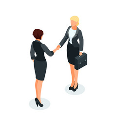 isometric businessmen shake hands vector image