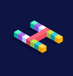 letter h isometric colorful cubes 3d design vector image
