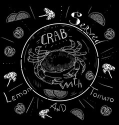 lettering crab menu fresh crab seafood menu vector image