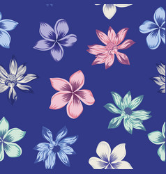 lotus plumeria seamless blue background vector image