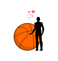 lover basketball man and ball i love sport game vector image