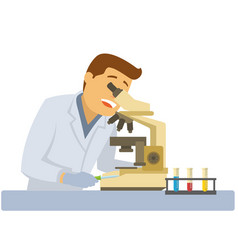 male scientist with microscope and flasks with vector image