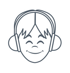 man with music headphones vector image