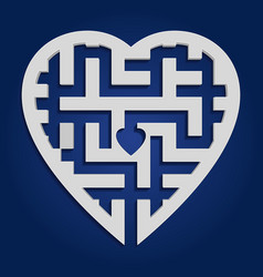 maze in heart shape gray labyrinth on blue vector image