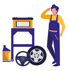 Mechanic worker with tire car and battery vector