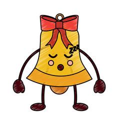 merry christmas kawaii bells smile cartoon vector image