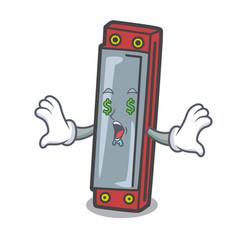 Money eye harmonica mascot cartoon style vector