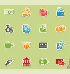 money symbols icon set vector image
