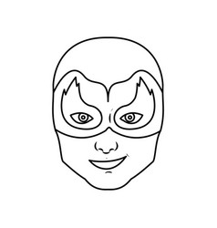 Monochrome silhouette with man superhero masked vector