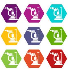 Phoropter icon set color hexahedron vector