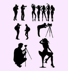 photographer and model silhouette 02 vector image