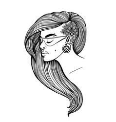 Portrait a girl with long hair vector