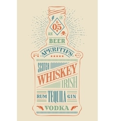 poster bottle alcohol with hand drawn lettering vector image