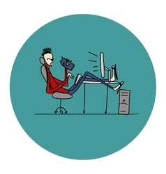 Programmer at work sketch for your design vector