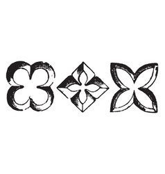 quatrefoil architecture overall outline of four vector image