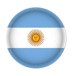 round metallic flag of argentina with screws vector image