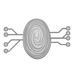 Scan a fingerprint icon black monochrome style vector image