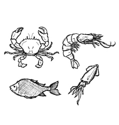 scribble series - seafood vector image vector image