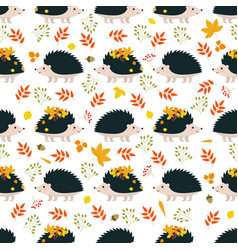 Seamless pattern with hedgehogs and leaves vector
