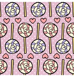 Seamless pattern with lollipops and hearts on vector image vector image