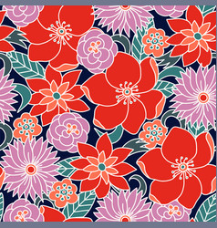 seamless pattern with simple flowers floral print vector image