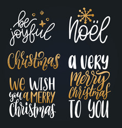 set christmas hand lettering new year vector image