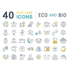 Set Flat Line Icons Eco and Bio vector image