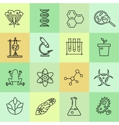 Set modern linear icons with biology elements vector