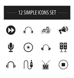 Set of 12 editable mp3 icons includes symbols vector