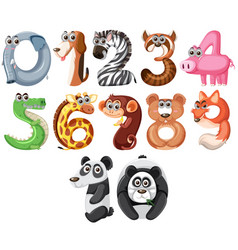 Set of cute animals number vector