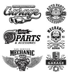 set vintage monochrome car repair emblems vector image