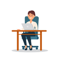 smiling businesswoman sitting at the desk working vector image