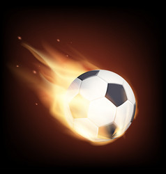 soccer ball on fire isolated on a black vector image
