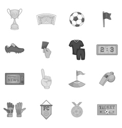 Soccer icons set black monochrome style vector