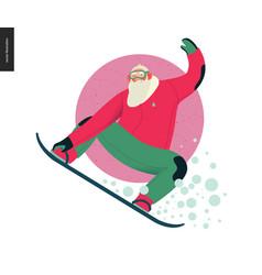 Sporting santa - snowboarding vector