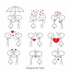 Stick figure people love wedding couple valentine vector