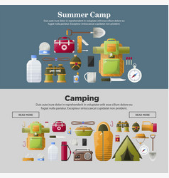 Summer camp banners of camping tools vector